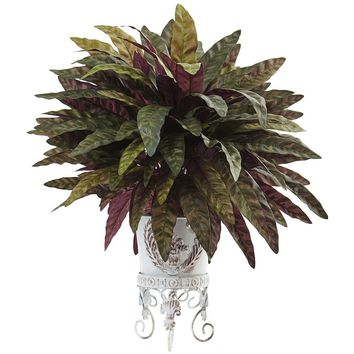Silk Flowers -Peacock Bush With Metal Planter Artificial Plant