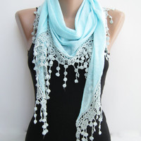 Mint blue triangle summer shawl, lace scarf