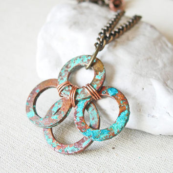 Copper Patina Necklace, Copper Washer Necklace, Rustic Copper Necklace Jewelry Industrial Necklace Rustic Necklace Industrial Chic Verdigris