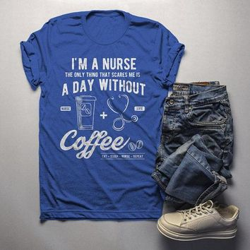 Men's Nurse T Shirt Funny Coffee Shirt Day Without Nurses Gift Idea Graphic Tee
