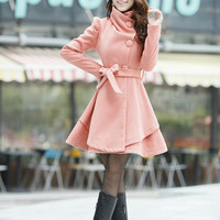 Orange Women coats OL Wool coat Cashmere winter coat Hood cloak Hoodie cape Hooded Cape/clothing /jacket/dress