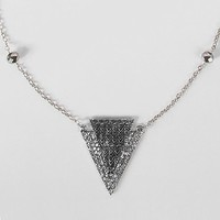 Women's Triangle Glitz Necklace in Silver by Daytrip.