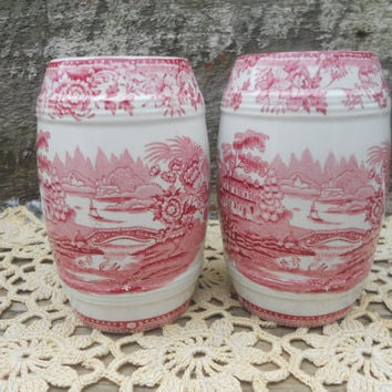 LARGE Red Transferware Salt and Pepper Shakers Tonquin Royal Crown - Ironstone England Staffordshire - Porcelain