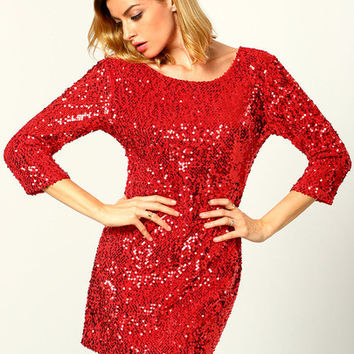 Red Round Neck Sequined Bodycon Dress