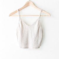 Knit Ribbed V-neck Crop Top - Oatmeal
