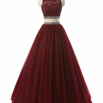 In Fashion Two Pieces Long Prom Dress Burgundy Evening Party Dress Woman Crystal Beaded Scoop Sexy Graduation Gowns