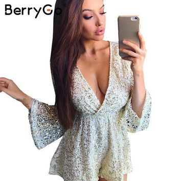 ONETOW BerryGo Sexy lace gold sequin jumpsuit romper Women hollow out long flare sleeve overalls Summer 2017 deep v neck black playsuit