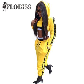 FLODISS Yellow Tracksuit 2017 Winter Women Cotton Sporting Suit Crop Hoodie+Pants 2 Piece Set Outfit Striped Sweatsuit