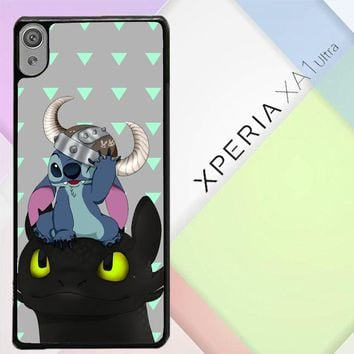 Baby Toothless Dragon And Stitch E1433 Sony Xperia XA1 Ultra Case