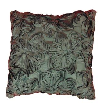 Decorative 3D Flower Throw Pillow | 17.5 x 17.5 inches (Set of 1, Peacock)