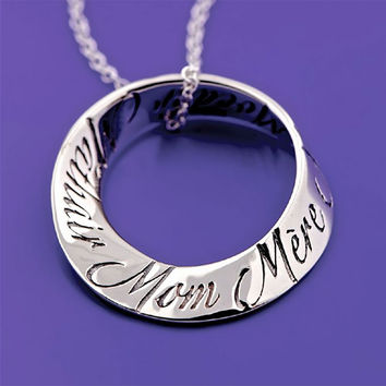 Mom In 10 Languages Sterling Silver