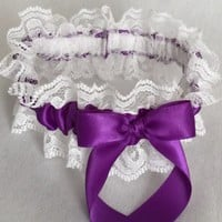 Purple and White Lace Wedding Garter, Prom Garter, Bridal Garter, Weddings, Bridesmaid Gift, Homecoming Garter, Bridal Gift