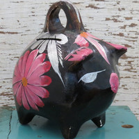 Mexico Pig Piggy Bank Hand Painted Vintage Folk Art Pottery