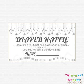 Printable Diaper Raffle Ticket, Twinkle Twinkle Little Star Baby Shower, Diaper Raffle Sign and Raffle Cards, Silver Baby Shower, SGS0002-SG