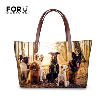 FORUDESIGNS 3D Border Collie Dog Women Handbag Casual Woman's Cross-body Bags Animal Travel Tote Bolsas Feminine Top-handle Bag