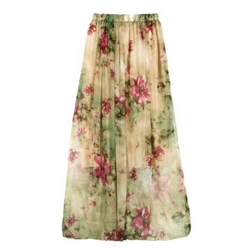 Hot Marketing Long Skirt  Women Chiffon Pleated Bohemian Boho Maxi Long Waist Skirts Beach Skirt Maxi Skirt Plus Size WAug10