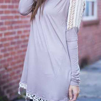 Gray Crochet  Lace Detail Long Sleeves T-Shirt Dress