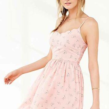 Band Of Gypsies Floral Scallop-Neck Dress