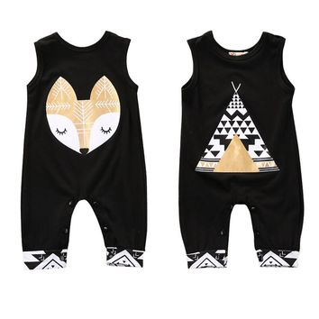 Cotton Newborn Infant Baby Boy Girl Cotton Rompers Chlothing Fox Tent Wigwam Jumpsuit Baby Girls Boys Clothes Outfits