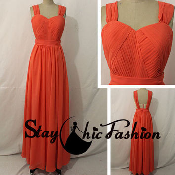 2015 Coral Long Pleated Bust Sheer Mesh Waist Strap Back Chiffon Prom Dress,Cute Homecoming Dress