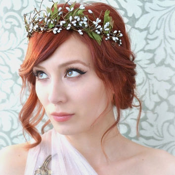 Fairy crown, silver woodland head piece, boho tiara, whimsical wedding hair accessories