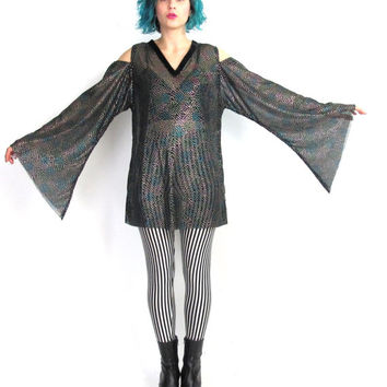 90s Angel Sleeve Blouse Cut Out Shoulders Sheer Top Dramatic Black Mesh Goth Fantasy Costume Open Shoulders Rainbow Puffy Paint (M/L)