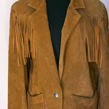 Vintage Leather Suede Western WINLIT cowgirl fringe carmel jacket with padded shoulders SIze Small