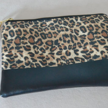Leopard Print Clutch with Detachable Wristlet
