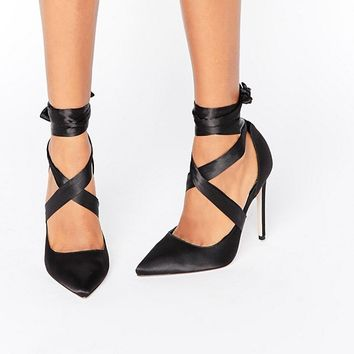 ASOS PINO Satin Lace Up Pointed Heels at asos.com