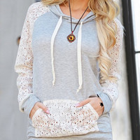 Light Blue Hooded Long Sleeve Lace Pullover Hoodie