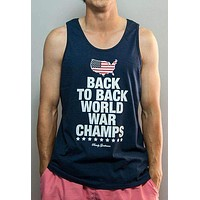 Back to Back World War Champs Tank Top - America Silhouette Edition in Navy by Rowdy Gentleman