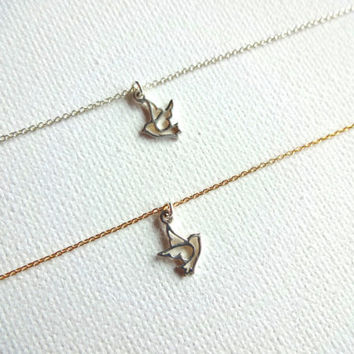 Small Micro 925 Sterling SIlver Peace Dove Charm and 14k Gold Fill / Sterling Silver Chain Pendant Necklace - Personalized, Symbol of Peace