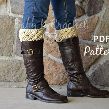 Celtic Dream Boot Cuffs Crochet Pattern  - Ladies Extra Small to Large Sizes
