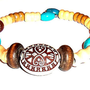 "Tribal Unisex Bracelet: Genuine Howlite And Wood "" Never Alone"""