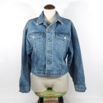 Denim Jean Jacket Vintage 1990s Bongo Women's size M Medium