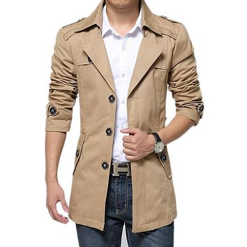 Trench Coat Men Classic Men's Double Breasted Trench Coat  Male windbreaker Long Jackets & Coats man Overcoat Plus Size 4XL