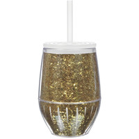 Slant Collections- 10 Oz. Stemless Wine Glass- Gold Glitter