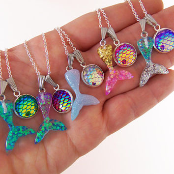 Mermaid birthday party favors, mermaid necklaces, mermaid necklace, mermaid gifts, mermaid jewelry, under the sea party, under the sea dance