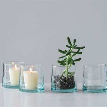 Hand-Blown Drinking Glass/Tealight Holder