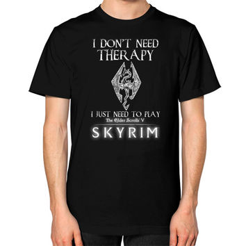 Skyrim therapy Unisex T-Shirt (on man)