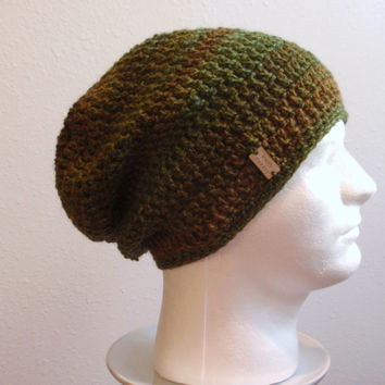Crochet Slouch Hat Brown Beanie, Mens Beanie, Womens Hat, Green and Brown Striped, Mens Slouch Beanie