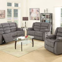 Global United 9824GR-2PC 2 pc Norma collection gray bella velour fabric upholstered sofa and love seat with recliner ends