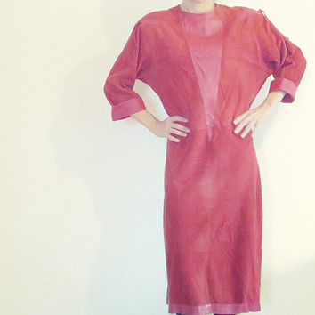 Louie Feraud Paris, Vintage Leather Dress , Red , 1970s , W. Germany , Padded shoulders , Full length , Maxi , Size 38 , S - M