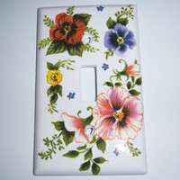 Colorful pansies single light switch cover - swarovski crystals
