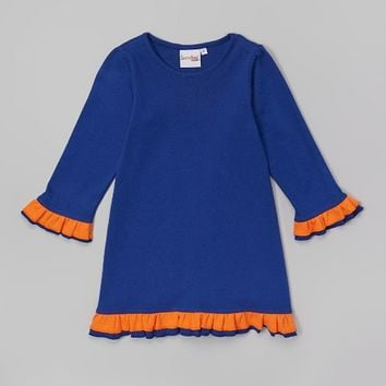 Barefoot Blanks Navy Orange Ruffle Dress/Tunic