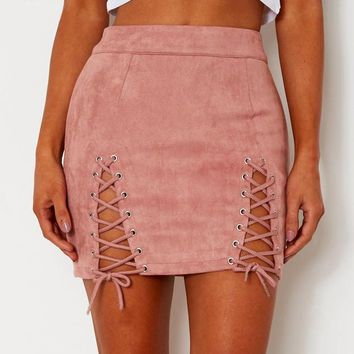 Suede High Waisted Front Lace-up Skirt