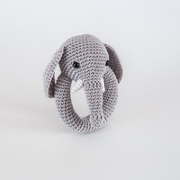Elephant Rattle, Amigurumi Elephant Rattle, Crochet Elephant Rattle