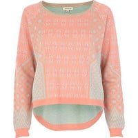 Cream geometric print fluro jumper
