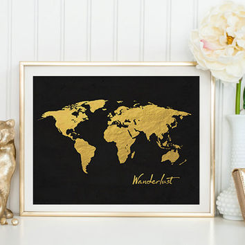 Wanderlust World Map Poster Travel Art Inspirational Quote Vintage Map Motivational Print World Map Poster Vintage Map Poster Black and Gold