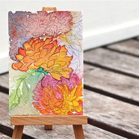 chrysanthemum  watercolor painting, tiny, ACEO, orange, joy,  fine art original, gift